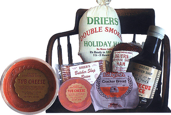 At holiday time or anytime you want the finest, consider Drier's Meat Market in Three Oaks, Michigan. Selected lean hams, lightly smoked to perfection.